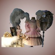 """Adorable French dress and hat for your antique doll from 52cm or 20,5 """""""