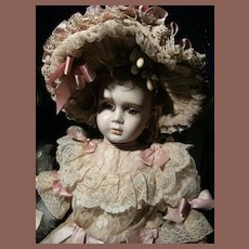 Amazing  French antique  dress and hat for French BeBe Jumeau, Bru, Steiner, from  52cm or 20,5 inch