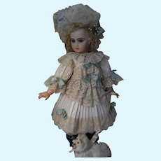 Beautiful  French BéBé  doll dress and a French hat, for a 63cm or 24,8 inch antique  doll.