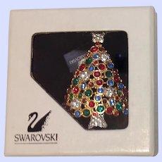 Swarovski Swan Signed  Limited Edition Rhinestone Christmas Tree Pin Brooch