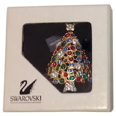 Swarovski Swan Signed  Limited Edition Rhinestone Christmas Tree Pin Brooch