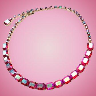 Vintage Weiss Rhinestone Necklace: Aurora Borealis Red Gold Tone