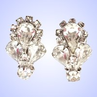 Vintage Weiss Clip Earrings Clear Rhinestone Silver Tone Signed