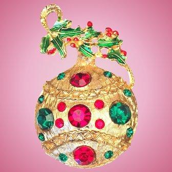 Vintage Christmas Ornament Pin Brooch Pendant Rhinestone Enamel GoldTone