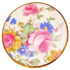 Vintage Porcelain English Chintz Floral Ceramic Brooch Pin Gold Rim