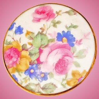 Vintage Porcelain English Chintz Floral Ceramic Brooch Pin Gold Rim