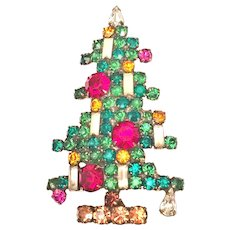 Vintage Weiss Six 6 Candle Christmas Tree Pin Brooch Largest One Made- Book Piece!