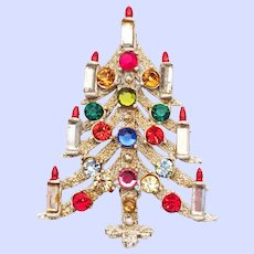 Hollycraft Christmas Candle Tree Pin White Flocked Multicolor Rhinestones
