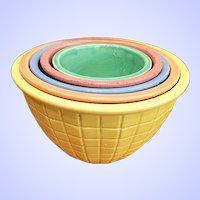 Vintage RRP Co Roseville Nested Bowls Pastel Beehive Pattern