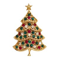 Christmas Tree Pin Rhinestone Signed H in a Heart - Book Piece!