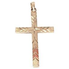 Religious Cross Pendant Solid 10k Yellow Gold Vintage
