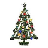 Snowy Christmas Tree Pin Green Enamel Multicolor Rhinestones