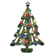 Snowy Christmas Tree Pin Green Enamel Multicolor Rhinestones