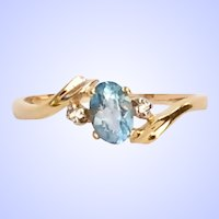 Oval Blue Topaz 14K Ring Diamond Accents Ring Size: 7-1/4