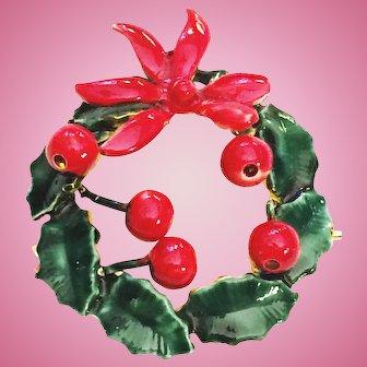 Sandor Christmas Wreath Pin Brooch Signed Red Green Enamel