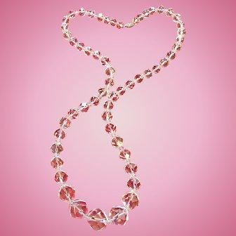 "Clear Rock Crystal Quartz 32"" Long Graduated Necklace"