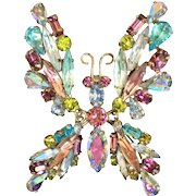 Schreiner Signed Trembler Rhinestone Butterfly Pin Brooch Blues Lavenders AB Gold Tone