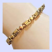 Tri Color 14K Gold Chain Line Bracelet Signed AY Yellow, White, Rose Gold Accents