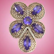 Unique Filigree Dress Clip Blue Open Back Rhinestones Silver Tone Transitional Art Deco
