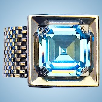Wraparound Cufflinks Light Blue Rhinestones Silver Tone Mesh