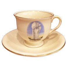 Yellowstone National Park Old Faithful Geyser Souvenir Tea Cup Saucer