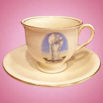 Yellowstone National Park Old Faithful Geyser Souvenir Tea Cup Saucer