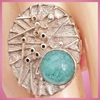 Modernist Brutalist Ring Sterling Silver Aventurine Cabochon