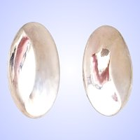Modernist Oval Sterling Silver Clip Earrings
