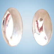 Modernist Oval Sterling Silver Clip Earrings