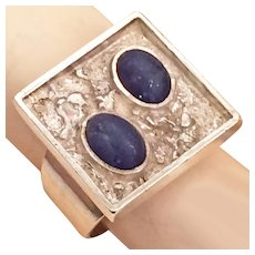 Modernist Brutalist Lapis Lazuli Sterling Silver Ring Moon Rocks