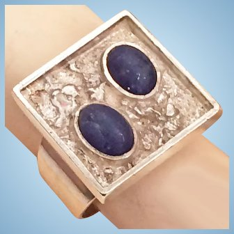 Modernist Brutalist Lapis Lazuli Sterling Silver Ring Moon Rocks