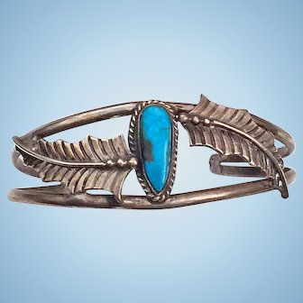 Native American Bracelet Turquoise Sterling Silver Feathers Open Cuff