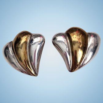Mexican Sterling Two Tone Clip Earrings Marked TA-70