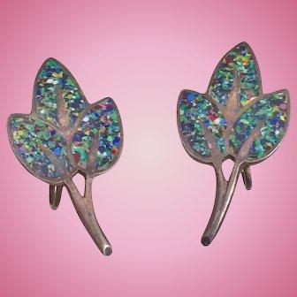 Vintage Margot de Taxco Multicolor Enamel Rainbow Confetti Leaf Earrings