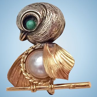 Wells Sterling / Gold Filled Chick Bird Pin Brooch Simulated Pearl Belly