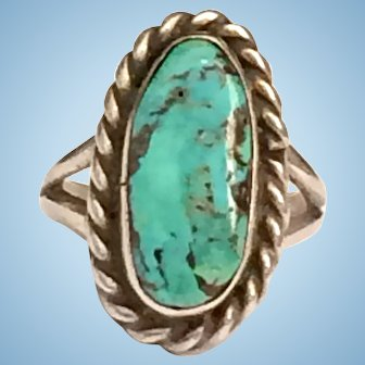 Vintage Native American Turquoise Sterling Silver Ring Size 6 12