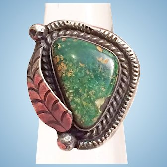 Vintage Native American Navajo Green Turquoise Sterling Silver Ring Size 7