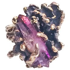 Vintage Brutalist Modernist Ring Amethyst Sterling Silver Double Terminated Crystal