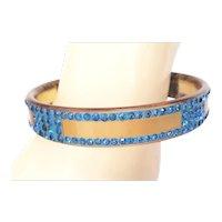 Art Deco Apple Juice Celluloid Bangle Bracelet Painted & Embedded Blue Rhinestones
