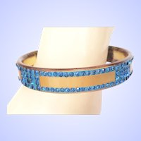 Art Deco Apple Juice Celluloid Bangle Bracelet Painted & Embedded Blue Rhinestones