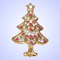 Swarovski Swan Signed Christmas Tree Pin Brooch Ltd. Ed. Retired Original Box