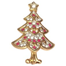 Swarovski Swan Signed Christmas Tree Pin Brooch Ltd. Ed. Retired Original Box