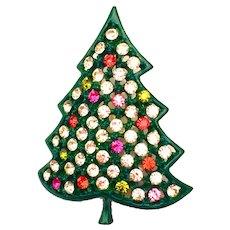 Vintage Kramer Rhinestone Christmas Tree Pin Brooch