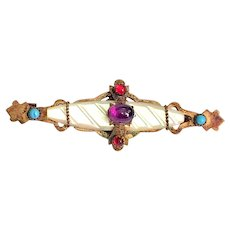 Antique Late Victorian Cabochon MOP Pin Brooch - Gorgeous!