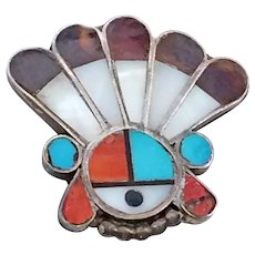 Vintage 1970s Native American Zuni Inlay Kachina Chief Pin Brooch Sterling Silver