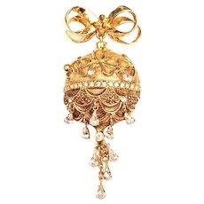 Vintage St John Rhinestone Christmas Ornament Fob Pin Brooch