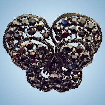 Weiss Pansy Flower Pin Brooch Black Rhinestones Black Japanned