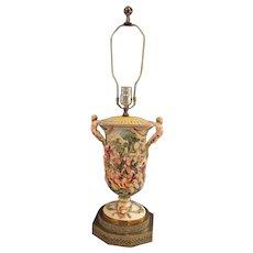 Vintage Fine Porcelain Capodimonte /Style Lamp Bacchanal Cherubs Putti Mermen