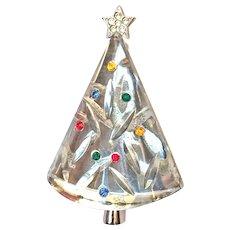Vintage Eisenberg Christmas Tree Pin Brooch Conical Glass & Rhinestones Silver Tone