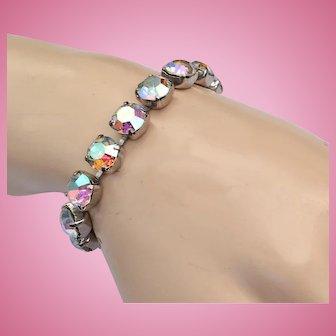 Vintage Weiss Aurora Borealis Clear Line Bracelet Silver Tone